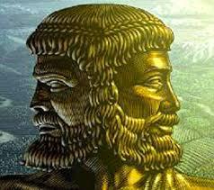 janus gold statue